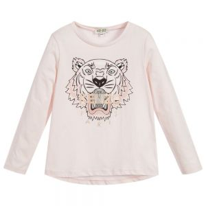KENZO KIDS Girls Pink Cotton Iconic Tiger Long Sleeved Top