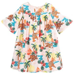 Kenzo Kids Girls Pink HAWAI Cotton Dress