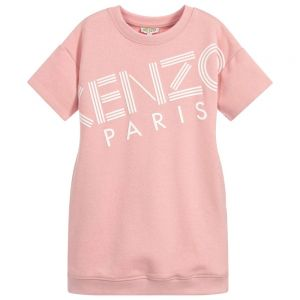 KENZO KIDS Girls Pink Logo Sweatshirt Dress