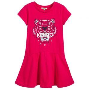 Kenzo Girl's Pink Tiger Cotton Dress