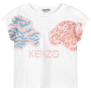 Kenzo Kids Girls White Cotton Tiger and Friends  T-Shirt
