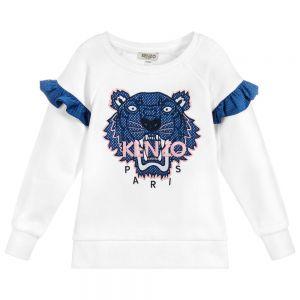 Kenzo Kids Girls White TIGER Frill Detail Sweatshirt