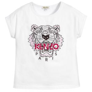 Kenzo Kids Girl's White And Pink Iconic T-Shirt