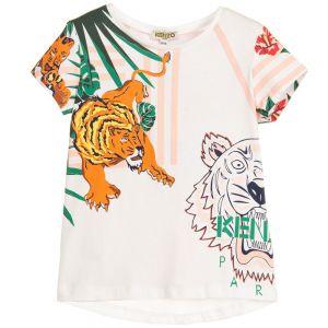 Kenzo Kids Girls White TIGER Hawai Print T-Shirt