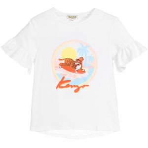 Kenzo Kids Girls White TIGER Hawai T-Shirt