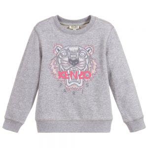 KENZO KIDS Grey Cotton Tiger Sweatshirt