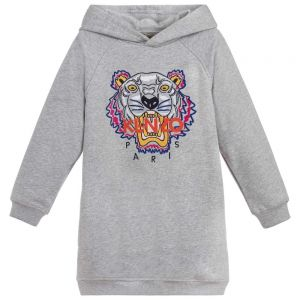 KENZO KIDS Grey Tiger Sweatshirt Dress
