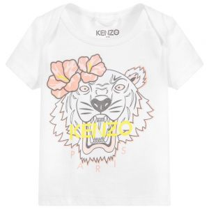 Kenzo Kids Baby Organic Cotton White Iconic Tiger T-Shirt