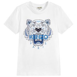 KENZO KIDS White Cotton Short Sleeved Iconic Tiger T-Shirt