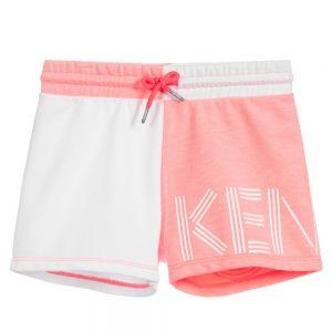 Kenzo Kids Pink and White Logo Shorts