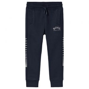BOSS Kidswear Teen Navy Blue Silver Embroidered Logo Joggers