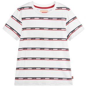 Levi's Boys White Cotton Bandero Jersey T-Shirt