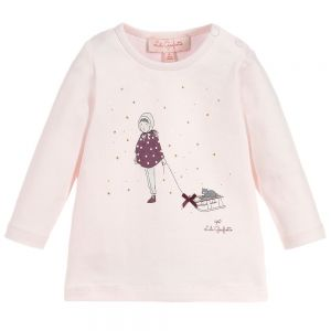 LILI GAUFRETTE Baby Girl's Pink Cotton Top
