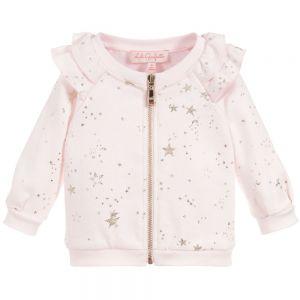 LILI GAUFRETTE Girls Pink Zip-Up Cotton Top