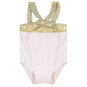 Lili Gaufrette Girls Pale Pink and Gold Swimsuit
