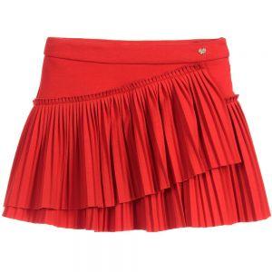 LILI GAUFRETTE Red Viscose Jersey Skirt