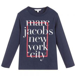 LITTLE MARC JACOBS Boys Navy Blue New York City Cotton T-Shirt