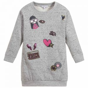 LITTLE MARC JACOBS Girl's Grey Cotton Jersey Dres