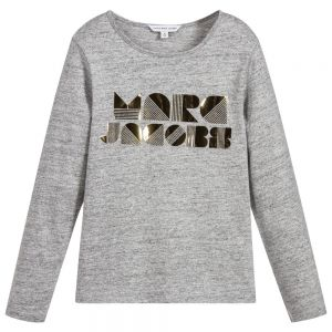 LITTLE MARC JACOBS Girl's Grey Cotton Gold Logo Top