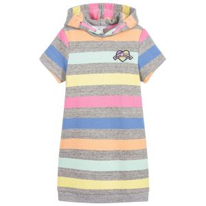 Little Marc Jacobs Girl's Grey Candy Striped Dress
