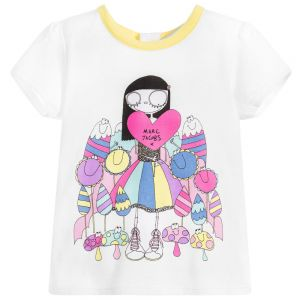 Little Marc Jacobs Girl's White Miss Marc T-Shirt