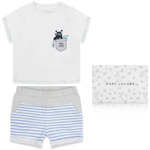 Little Marc Jacobs Boy's Dragon Print T-shirt And Striped Shorts Set