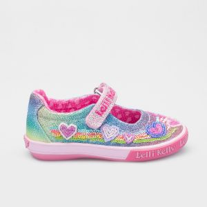 Lelli Kelly LK5072 Multi Glitter Rainbow Hearts Adjustable Dolly Shoes