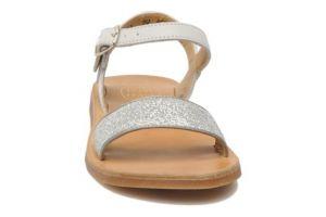 Pom D'Api Girl's Plagette Buckle White And Silver Sandal