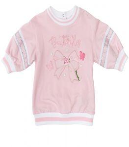 Monnalisa Bebé Butterfly Pink Sweatshirt Dress