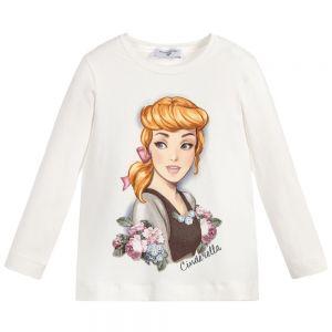 MONNALISA Girls Cream Cotton Disney Cinderella T-Shirt