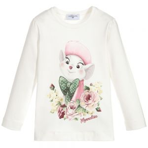 MONNALISA Girls Ivory Cotton Disney Top