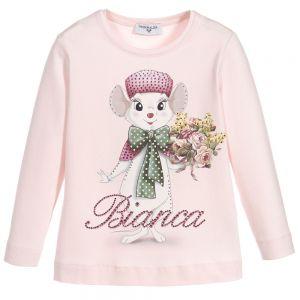 MONNALISA Girls Pink Cotton Bianca Disney Top