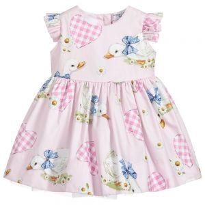 Monnalisa Bebé Girls Pink Cotton Duck Dress