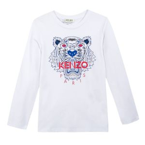 Boy's White Long Sleeved Iconic Tiger T-Shirt