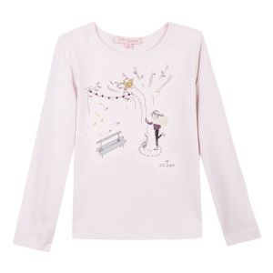 LILI GAUFRETTE Girls Pink Cotton Long Sleeved Top