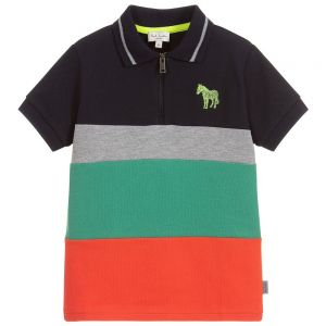 Paul Smith Junior Neon Zebra Boys Cotton Piqué Taka Polo Shirt