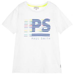 Paul Smith Junior Neon Zebra Boys White Cotton Chad T-Shirt