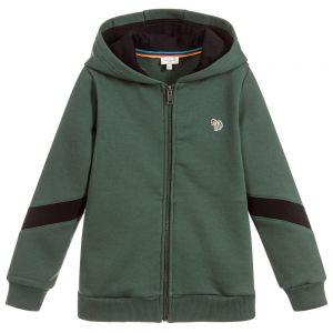 PAUL SMITH JUNIOR Boys SAFIR Green Jersey Zip-Up Top