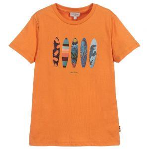 Paul Smith Junior Boys Orange Cotton Timeo T-Shirt
