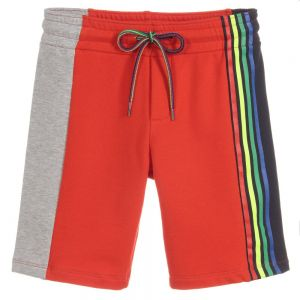 Paul Smith Junior Neon Zebra Boys Red Cotton Shorts