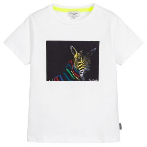 Paul Smith Junior Neon Zebra Boys White Cotton Tery T-Shirt