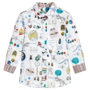 PAUL SMITH JUNIOR Boys White SOLAN Cotton Shirt