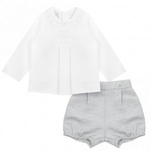 Paz Rodriguez Baby Boy's Grey and Ivory Shorts Set