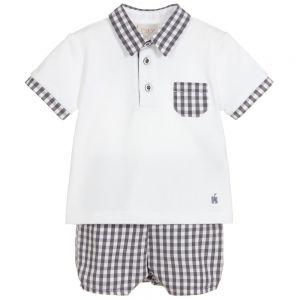 Paz Rodriguez Boys Grey and White Top & Shorts Set