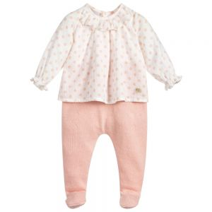 Paz Rodriguez Girls Pink Layered Babygrow
