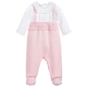 Paz Rodriguez Pink Wool & Cotton Babygrow