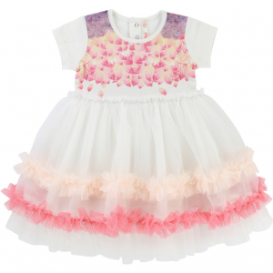 Girls Pink and Ivory Billie Blush Tulle Dress