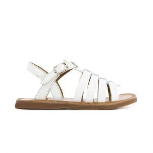 Pom D'Api Girl's White Plagette Sandal