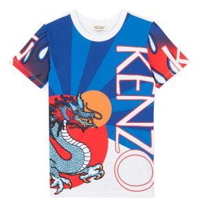 Kenzo Kids Blue & White Cotton Dragon T-Shirt