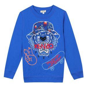 Kenzo Kids Boys Blue Cotton Tiger Celebration Sweatshirt